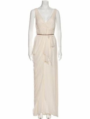 Alice + Olivia Silk Long Dress White