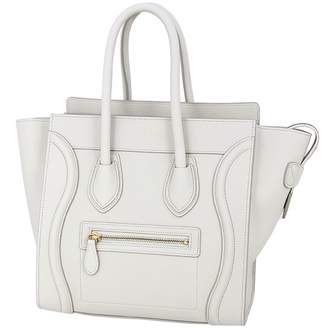 Celine Luggage White Leather Handbags