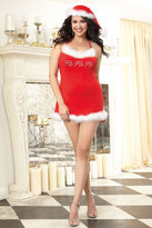 Yours Clothing DREAMGIRL Red Jersey Santa Chemise With Matching Hat