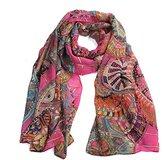 Datework Women Chiffon Printed Silk Long Soft Scarf Shawl (Hot Pink)