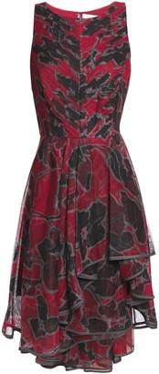Halston Asymmetric Printed Tulle Dress