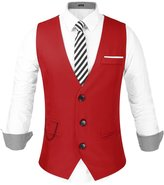 Hasuit Mens Fashion Sleeveless 3 Button Formal Suit Vest