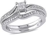 10K White Gold 0.26ctw Princess-Cut and Round White Diamond Bridal Set