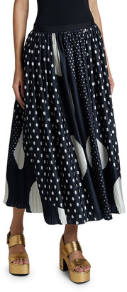 Dries Van Noten Polka-Dot Pleated Maxi Skirt