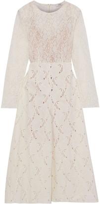 GOEN.J Leavers Lace And Broderie Anglaise Velvet Midi Dress