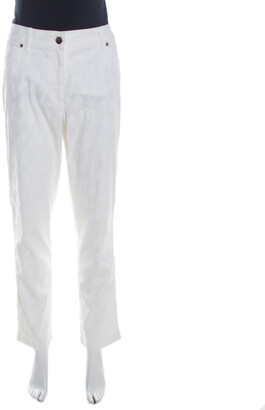 Escada Off White Patterned Stretch Cotton Jacquard Jeans XL