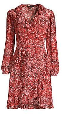 Maje Women's Printed Ruffled Wrap Dress