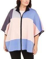 Anne Klein Plus Size Colorblock Zip-Front Poncho