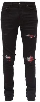 Amiri Mx1 Printed-patch Distressed Slim-leg Jeans - Black