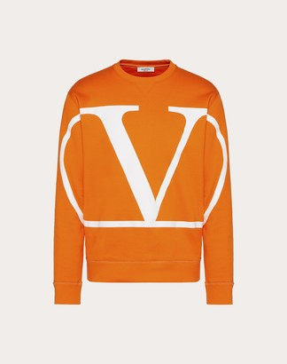 Valentino Crew-neck Sweatshirt With Vlogo Signature Print Man Florescent Orange Cotton 94% M