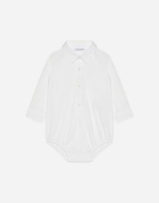Dolce & Gabbana Shirt Bodysuit In Stretch Poplin