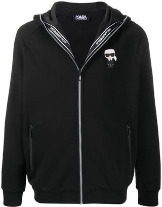 Karl Lagerfeld Paris Logo-Patch Zip-Through Hooded Sweatshirt
