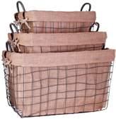 Home Essentials Farmhouse Rectangular School Baskets (Set of 3)