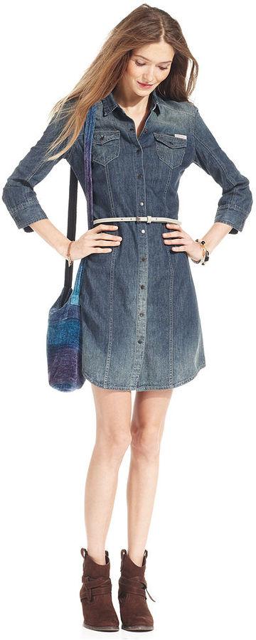 Calvin Klein Jeans Dress, Three-Quarter-Sleeve Denim Shirtdress