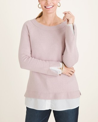 Chico's Knit Woven-Hem Bateau-Neck Pullover Sweater