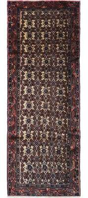 """Ecarpetgallery One-of-a-Kind Roodbar Hand-Knotted Runner 3'3"""" x 9'3"""" Wool Navy/Red Area Rug"""