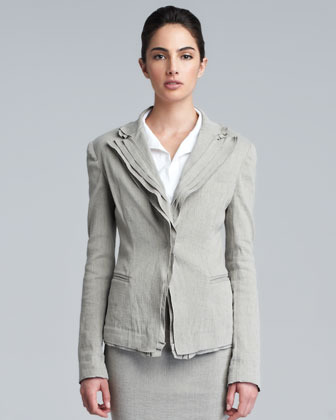Donna Karan Layered Lapel Linen-Blend Jacket, Hemp