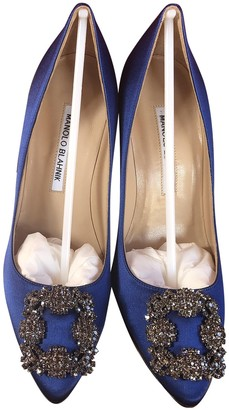 Manolo Blahnik Hangisi Blue Leather Heels