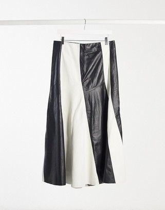 Topshop Premium pleated leather skirt with color-block design in monochrome