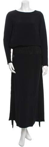 Derek Lam Fringe-Trimmed Long Sleeve Gown w/ Tags