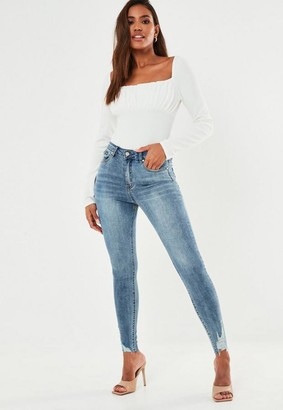 Missguided Blue Highwaisted Raw Ladder Hem Jeans