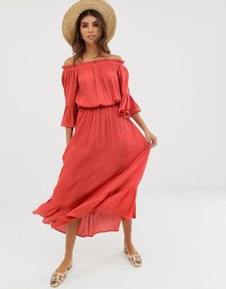 ASOS DESIGN off shoulder maxi dress in texture dobby