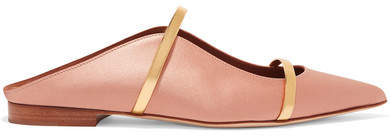 Malone Souliers by Roy Luwolt - Maureen Metallic Leather-trimmed Satin Point-toe Flats - Blush