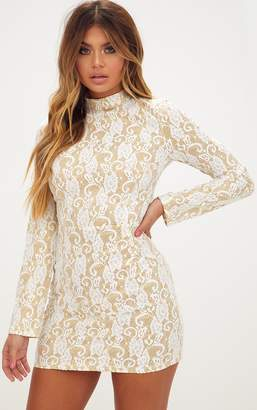 PrettyLittleThing White Glitter Lace High Neck Bodycon Dress