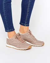 Reebok Taupe Classic Leather Sneaker With Snake Texture