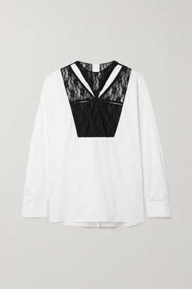 Christopher Kane Cutout Lace-paneled Cotton-poplin Shirt - White