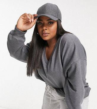 ASOS DESIGN Curve oversized sweatshirt with drop v-neck in charcoal marl