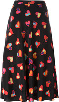 Moschino hearts print A-line skirt - women - Silk/Polyester - 38