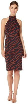 Bardot Sammie Halter Dress (Brown Zebra) Women's Clothing