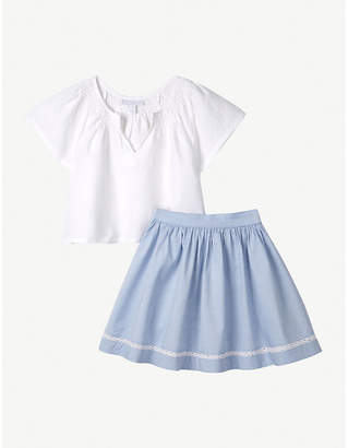 The Little White Company Smocked linen top and skirt set (1-6yrs)