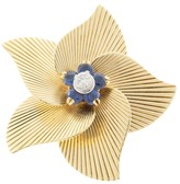 Tiffany & Co. 18K Yellow Gold Round Sapphire And Diamond Open Flower Pin