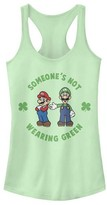 Fifth Sun Women's Tank Tops MINT - Super Mario Mint 'Not Wearing Green' Racerback Tank - Women & Juniors