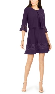 Jessica Howard Petite Lace-Trim Dress & Bell-Sleeve Jacket