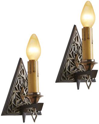 Rejuvenation Pair of Art Deco Triangle Sconces