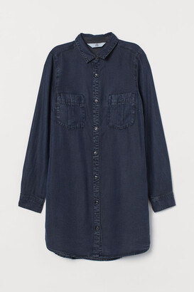 H&M Long Denim Shirt - Blue