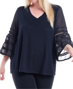 Fever Plus Size Bell-Sleeve Top