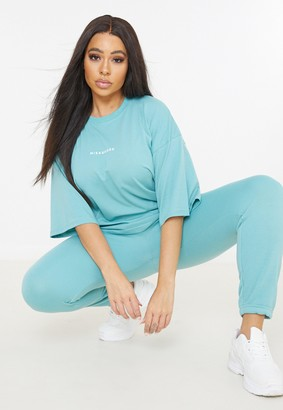 Missguided Plus Size Teal T Shirt And Joggers Co Ord Set