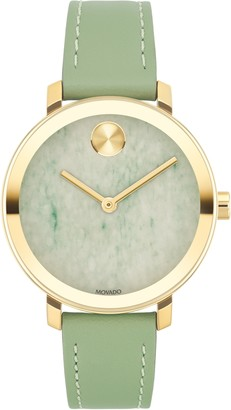 Movado Bold Evolution Leather Strap Watch, 34mm