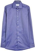 Eton Dark Blue Iridescent Contemporary Cotton Shirt