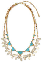 Vera Bradley Versatile Gold-Tone Blue Stone Triangle and Geometric Disc Layered Statement Necklace