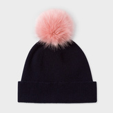Paul Smith Women's Navy Lambswool Pink Bobble Hat