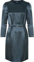 Crinkle Satin Dress in Navy Blue