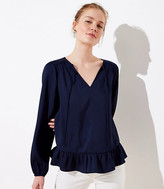 LOFT Split Neck Ruffle Blouse