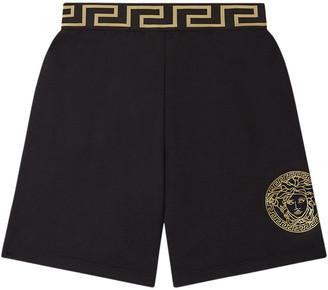 Versace Boy's Greek Key Medusa Pull-On Shorts, Size 8-14