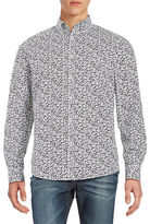 Black Brown 1826 Floral Print Laundered Sportshirt