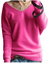 Pink Wind PinkWind Womens Plus Size V Neck Batwing Cashmere Knitted Basic Sweater
